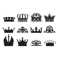 Silhouette of diadems and crowns vector