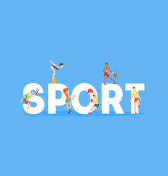 sport banner template people people doing vector image