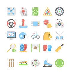 sports and games flat colored icons 2 vector image