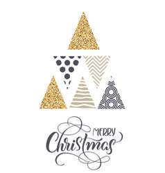 stylized christmas trees and the text of merry vector image vector image