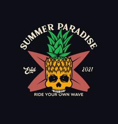 Summer paradise fancy pineapple skull t-shirt vector