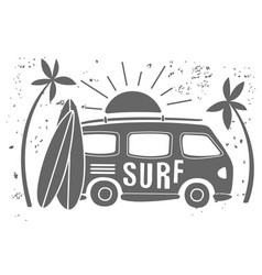 summer surf print with a mini van palm trees vector image