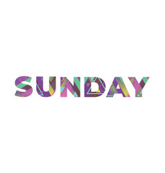 Sunday concept retro colorful word art vector