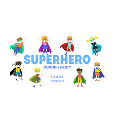 Superhero costume party banner cute boys and vector