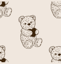 teddy bear seamless pattern engraving vector image