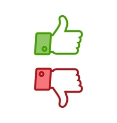 Thumb up and down icons vector image