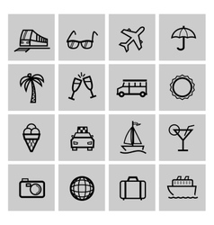 Tourism set icons vector