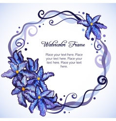 Watercolor floral frame of purple iris vector image