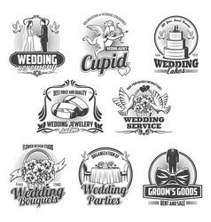 Wedding ceremony gift cake bride and groom icons vector