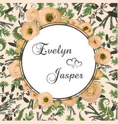 Wedding invitation floral card fern design vector