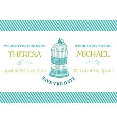 Wedding Vintage Invitation Card - Bird Cage Theme vector image