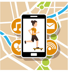 woman riding skateboard smartphone map navigation vector image