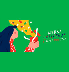 year card woman opening gift present vector image