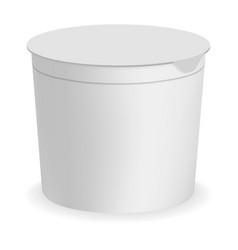 yogurt round box mockup realistic style vector image