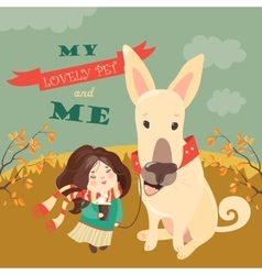 Funny dog with cute girl vector