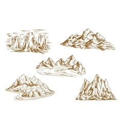 Mountain landscapes retro sketch icons vector image