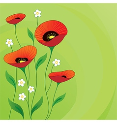Retro summer background with Poppies vector image vector image