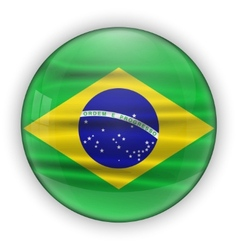 Brazil Flag Glossy Button world football vector image