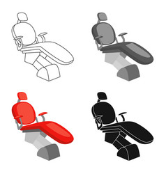 dental chair icon in cartoon style isolated on vector image