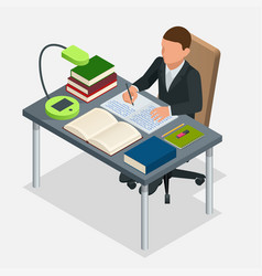 isometric young people and student concept a boy vector image vector image