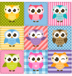 patchwork background with colorful funny owls vector image vector image