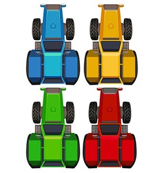 Top view of tractors in four colors vector image