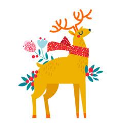 christmas reindeer in flowers vector image vector image