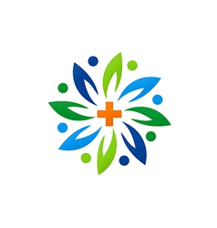 medical green abstract flower logo vector image