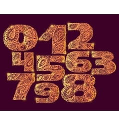 Numbers gold decorative set with a paisley filling vector