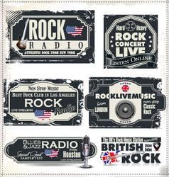 Rock music banner set vector