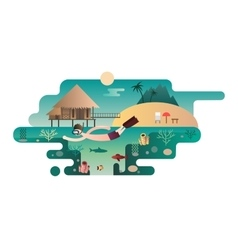 Beach island design flat concept vector image