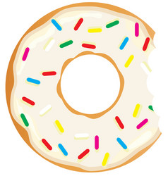 donut with a mouth bite vector image