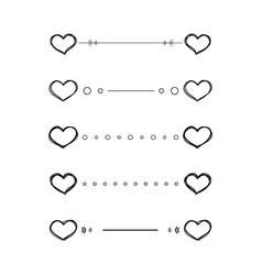 Heart dividers scribble borders vector image vector image