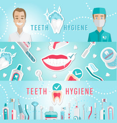 medical teeth hygiene infographic web banner vector image