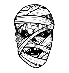 mummy monster head isolated on white background vector image