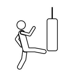 person kicking a punching bag vector image