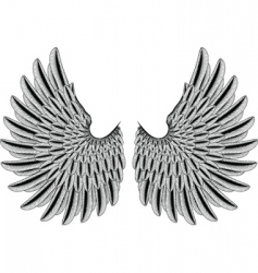 woodcut wings vector image