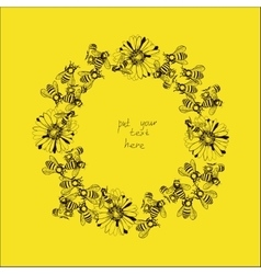 wreath with bees and flowers vector image vector image