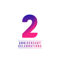 2 years anniversary celebrations template design vector