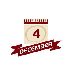 4 december calendar with ribbon vector