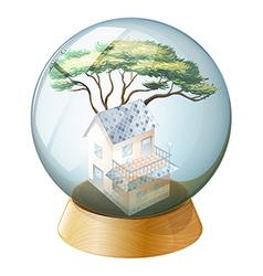 A crystal ball with house inside vector