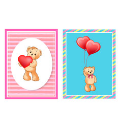Adorable bears with helium balloons in heart shape vector
