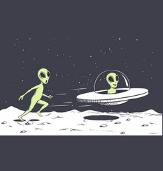 Alien catching a flying saucer vector