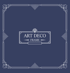 Art deco border and frame white lines on blue vector