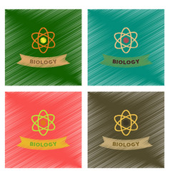 Assembly flat shading style icons biology molecule vector