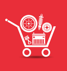 Auto parts in the supermarket trolley vector