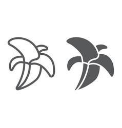 banana line and glyph icon food and vitamins vector image