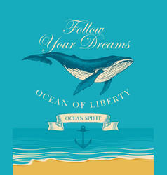 banner with big hand drawn fish and inscriptions vector image