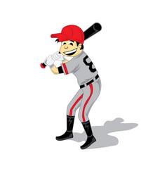 Baseball boy cartoon logo design vector