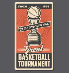 Basketball trophy cup with ball and basket hoop vector